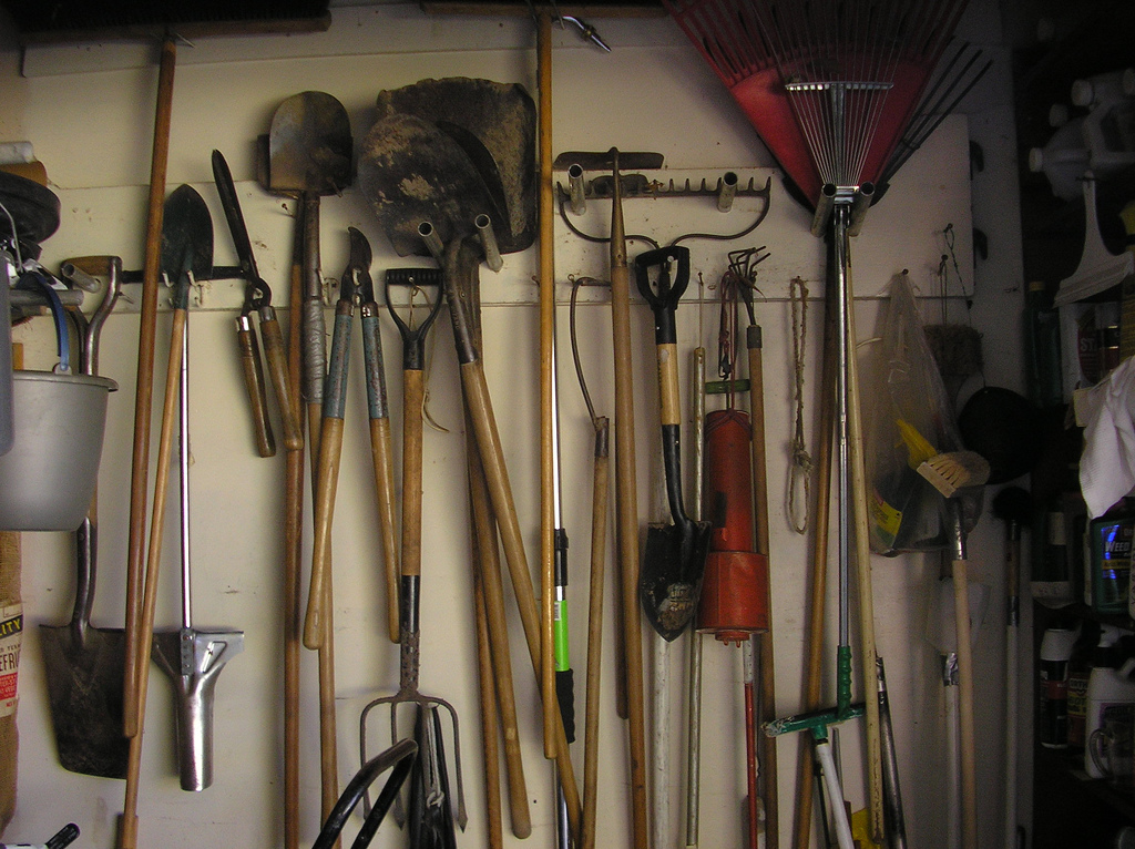 Getting organized garage storage tracy helps you for Gardening tools list with pictures