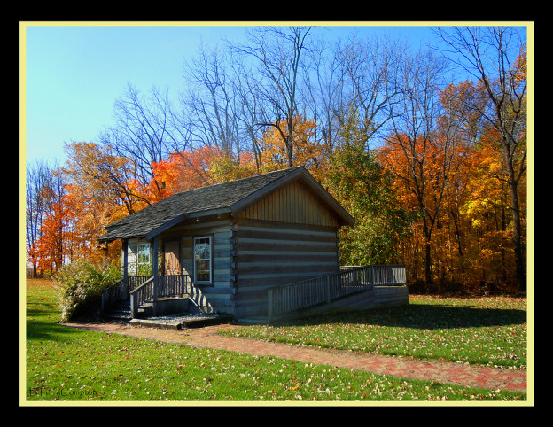 Autum Fall Scene Log Cabin