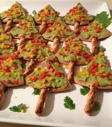 Pita Christmas Trees Appetizer